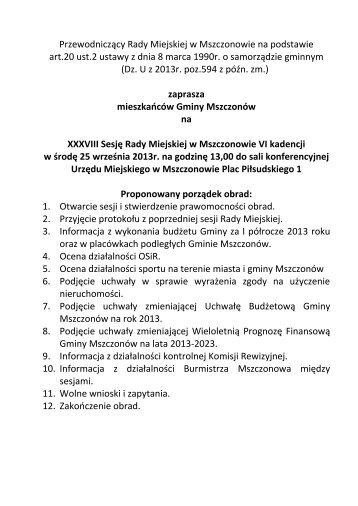 Przewodniczący Rady Miejskiej w Mszczonowie na podstawie art.20 ...