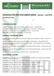 NOUVEAUTES DVD DOCUMENTAIRES Janvier – mai 2010
