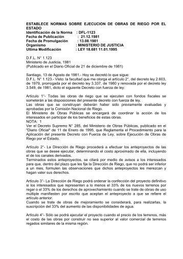 2. DFL 1123 - Dirección de Obras Hidráulicas