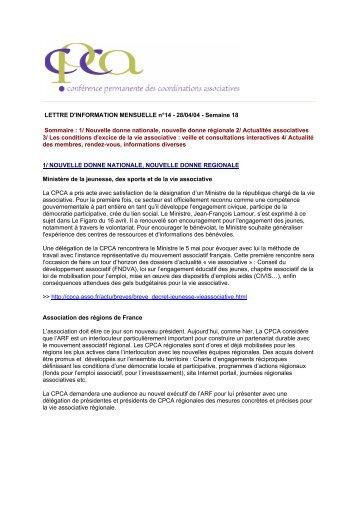 LETTRE D'INFORMATION MENSUELLE n°14 - 28/04/04 ... - CPCA