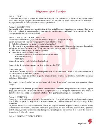 Règlement appel à projets - Etudiantdeparis.fr