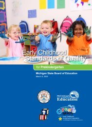 Early Childhood Standards of Quality for ... - State of Michigan