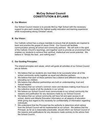 McCoy School Council CONSTITUTION & BYLAWS - McCoy High ...