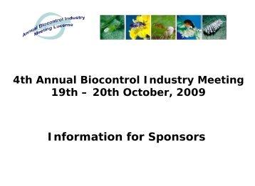 4th Annual Biocontrol Industry Meeting, Lucerne ... - Organic Europe