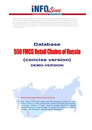 About 550 FMCG Retail Chains of Russia Database