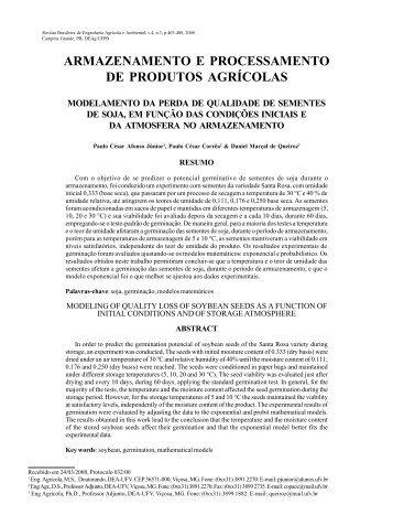 armazenamento e processamento de produtos agrícolas - Revista ...