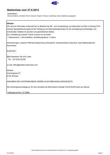 Stellenliste vom 27.6.2012 - TSN - Tiroler Schulnetz
