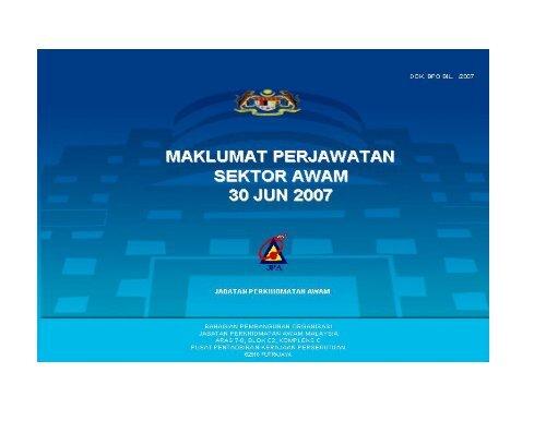 Maklumat Perjawatan Sektor Awam 30 Jun 2007C