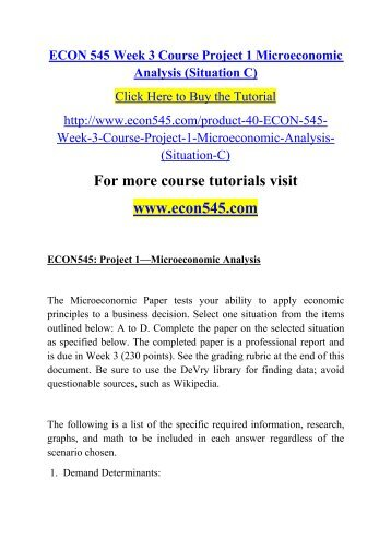 project 1 microeconomic analysis Econ 545 project 1 microeconomic analysis - free download as word doc (doc), pdf file (pdf), text file (txt) or read online for free.