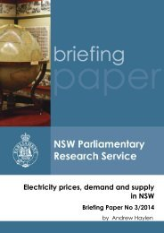 Electricity prices, demand and supply in NSW