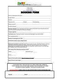 I CONFIRM THAT THE DETAILS ON THIS FORM ... - Manor Gardens