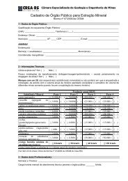 Cadastro de Órgão Público para Extração Mineral - Crea-RS