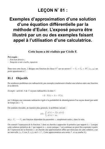LEÇON N˚ 81 : Exemples d'approximation d'une ... - CAPES de Maths