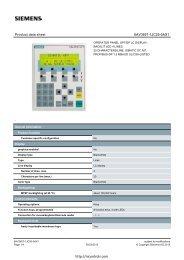 Siemens 6AV3607-1JC20-0AX1 OP7 Datasheet - Northern Industrial