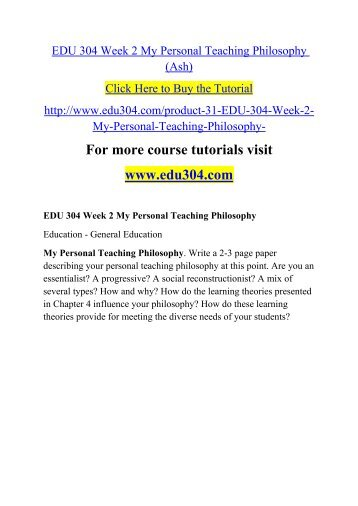 personal philosophy teaching learning