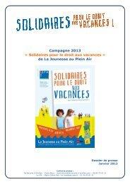 Campagne 2013 « Solidaires pour le droit aux vacances - Solidarité ...