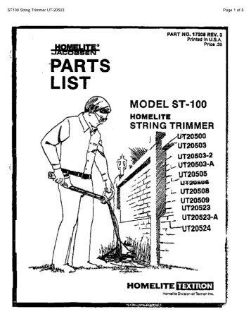 Homelite Z3300 Chainsaw Parts Diagram