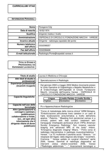 Paragone Edy - Ospedale di Circolo e Fondazione Macchi