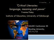 'Critical Literacies: language, meaning and power' - NALDIC