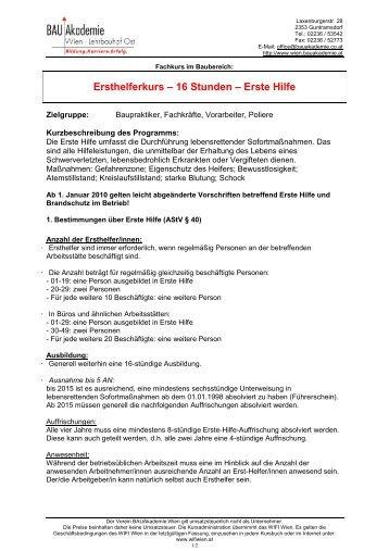 Ersthelferkurs – 16 Stunden – Erste Hilfe - Bauakademie Wien