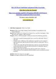 HCS 335 Week 2 Individual Assignment Ethics Case Study/uophelp