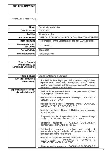 delodovici maria luisa - Ospedale di Circolo e Fondazione Macchi
