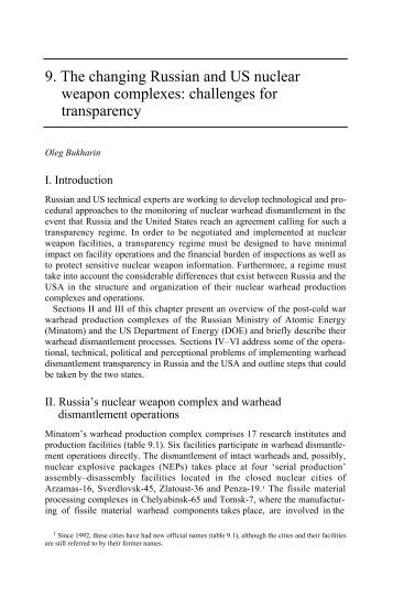 Transparency in Nuclear Warheads and Materials: The Political and ...