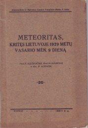 Meteoritas, kritęs Lietuvoje 1929 metų vasario mėn. 9 dieną