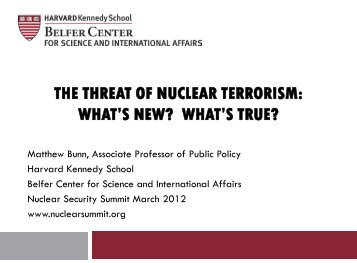 The Threat Of Nuclear Terrorism - Nuclear Security Summit Dossier