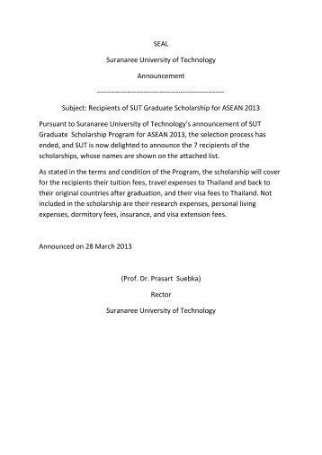 SEAL Suranaree University of Technology Announcement ...