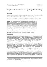 Cognitive behaviour therapy for a specific phobia of vomiting