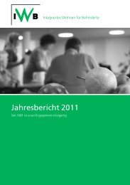 Jahresbericht 2011 - IWB Integriertes Wohnen für Behinderte