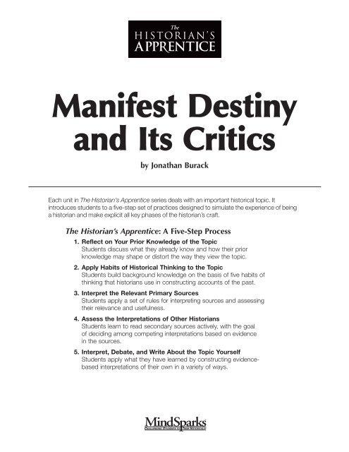 Manifest Destiny And Its Critics Pdf Mr Mermelstein S Classes