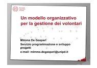 Un modello organizzativo per la gestione dei volontari