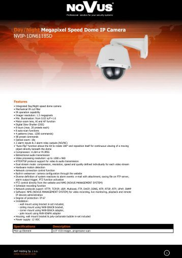 Day/Night Megapixel Speed Dome IP Camera NVIP-1DN6118SD