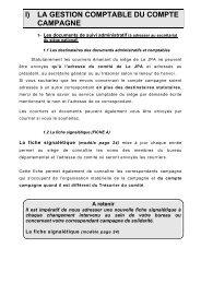 I) LA GESTION COMPTABLE DU COMPTE CAMPAGNE