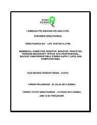 Sebutharga No : LPK 10/07/2013 (JTM) - Port Klang