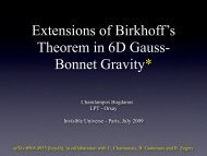 Extensions of Birkhoff's theorem in six ... - Univers Invisible
