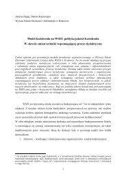 Model kształcenia na WSEI: polityka jakości kształcenia W okresie ...