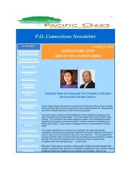 PO Connections Newsletter October 18, 2012 - Pacific Oaks College