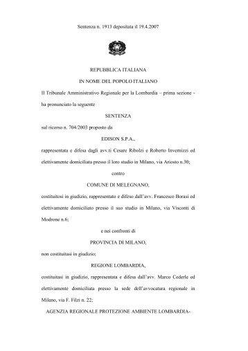 Sentenza n. 1913 depositata il 19.4.2007 REPUBBLICA ITALIANA ...