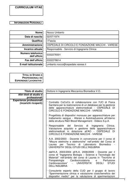 Nocco Umberto - Ospedale di Circolo e Fondazione Macchi