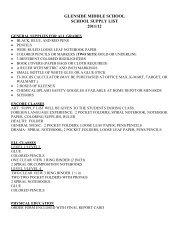 GLENSIDE MIDDLE SCHOOL SCHOOL SUPPLY LIST 2011/12