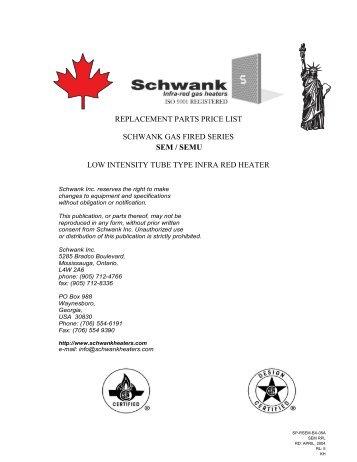 replacement parts price list schwank gas fired ... - Wolseley Express