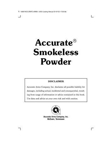 Accurate Smokeless Powder - TextFiles.com