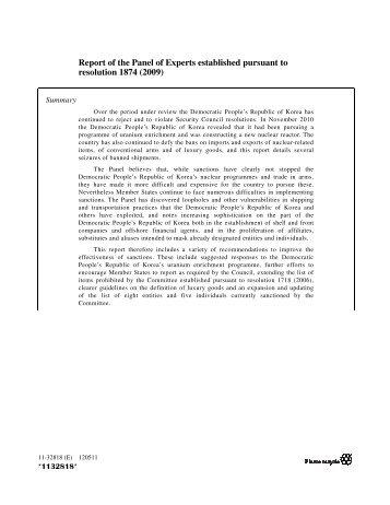 UN: Panel of Experts report on North Korea - 5-13-12 - Iran Watch