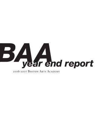 BAA year end report - Boston Arts Academy