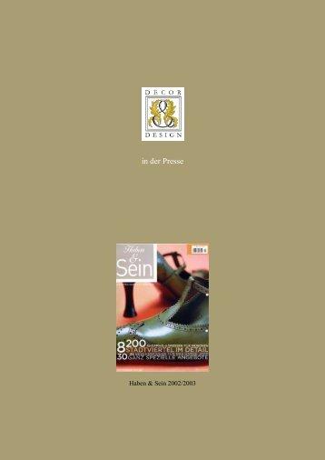 Haben & Sein 2002/2003 - Decor & Design