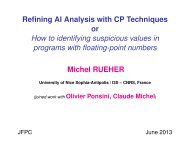 Refining AI Analysis with CP Techniques or How to identifying ... - LSIS