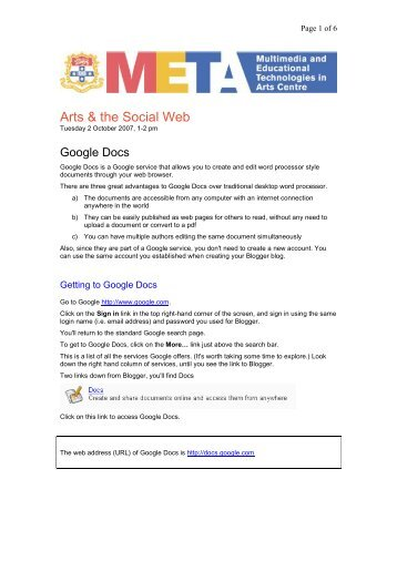 guide to using Google Docs - Blogs